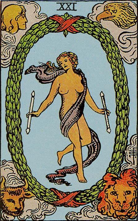 Die Welt - Tarot Karte Bedeutung - Rider Waite